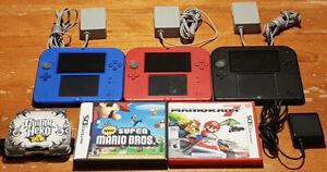 Consoles Nintendo 2DS, jeux et accessoires.