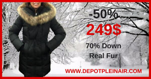 LIQUIDATION PRICES ON ALL DUVET WINTER COATS WITH REAL FUR!!!