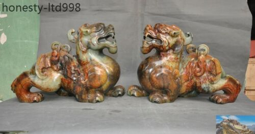 Huge Natural Old Jade Carved Fengshui Coin Bats Wealth Brave Troops Pixiu Statue