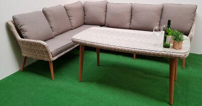Gartenmöbel Dining-Eck-Lounge Retro Sand 16tlg Polyrattan beige