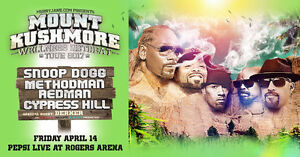 Selling 2 tickets to Snoop Dogg +Cypress Hill, Method Man, more