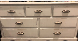 Shabby chic solid wood 7 drawer dresser
