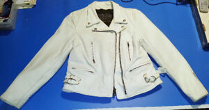 Branded Garments Inc.  Women's white leather jacket SMALL