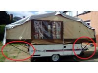 Conway folding camper / trailer tent 4 x BED SUPPORT POLES - Pennine, Trigano etc