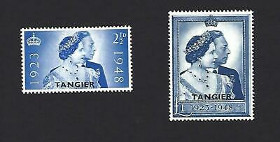 TANGIER 1948, GEORGE VI ROYAL SILVER WEDDING 2 STAMPS O/PTD 'TANGIER. £20+ MH