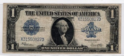1923 Series $1 Silver Certificate,Funny Back Blue Seal,Fine Condition