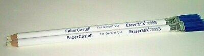 New Vintage 2 X White Faber Castell Eraser Stik With Blue Brush End 7099b