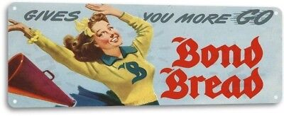 Bond Bread Cheerleader Bakery Kitchen Cottage Baker Decor Metal Sign