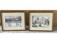 Pair of Original Watercolours by Ben Harris local Welsh Artist H8.75cm/22cmW10.75cm/27.5cm
