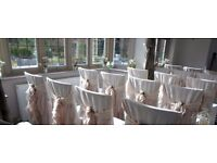 Vintage Nude Pink Chiffon Chair Hoods and Ruffle Sashes for Hire - Stunning