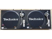 2 X Technics SL-1200 MK2 Turntables With Snake Skin Covers