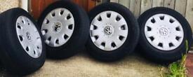 Genuine Volkswagen car wheels with 4 tyres