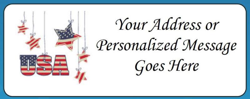 60 Personalized USA Patriotic Stars Return Address Labels