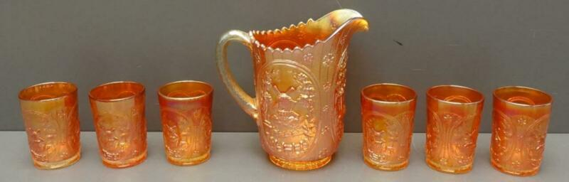 Imperial Carnival Frosted Glass Marigold Windmill Pitcher + Glasses Set of 7