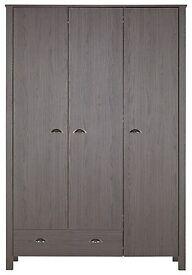 New marlow 3 door 1 draw wardrobe in dark oak effect