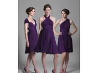 Bridesmaids pink wrap knee length multiway dress