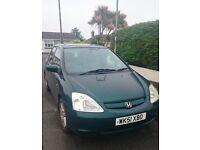 Honda Civic Exec 1.6 SE 2001 Green 5 door SPARES OR REPAIR Manual Petrol