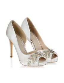 Brand New - Monsoon Aimee Embellished Peep Toe Bridal Shoes (size 4)