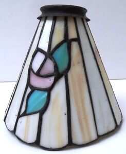 Stained Glass Floral or Flower Cone Lamp Light Shade 2 1/4