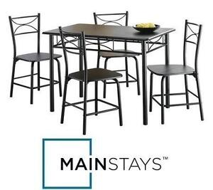 NEW MAINSTAYS 5PC METAL DINING SET ESPRESSO FINISH - METAL FRAMES, WOOD TABLE AND SEAT TOPS 105075467