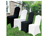 "70""x108"" Rectangle white Polyester Table Cloth and 10x white Spandex Lycra dining chair covers"