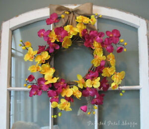 Spring Orchid Wreath/Fuchsia/Yellow Orchid/Spring Wreath Belleville Belleville Area image 3