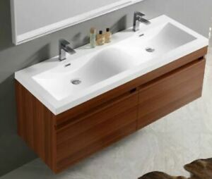 "57"" Vanity Cabinet, Double Sink Counter, Sinks, Faucets"