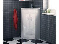 Corner vanity unit