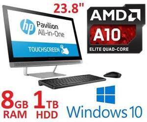 REFURB HP 23.8 TOUCH AIO DESKTOP PC 24-B019 139841145 AMD A10 9630 8GB RAM 1TB HDD WIN 10 OS ALL IN ONE COMPUTER