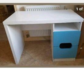 Childrens white and blue desk