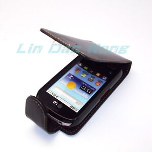 Flip Leather Case Cover Pouch + LCD Screen Protector Film For LG Optimus Me P350