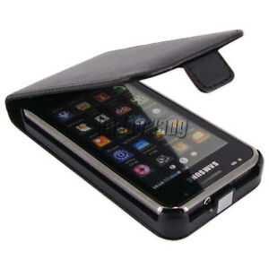 Black-Flip-Leather-Case-Cover-Pouch-Film-For-Samsung-i9000-Galaxy-S