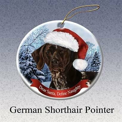 German Shorthaired Dog Santa Hat Christmas Ornament Porcelain China U.s.a. Gift