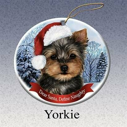 Holiday Pet Gifts Yorkie Santa Hat Dog Porcelain Christmas Tree Ornament