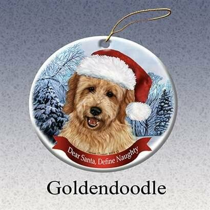 Holiday Pet Gifts Goldendoodle Santa Hat Dog Porcelain Christmas Tree Ornament
