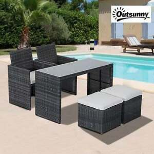 NEW OUTSUNNY 5PC DINING SET 841-117 202277165 RATTAN PATIO FURNITURE