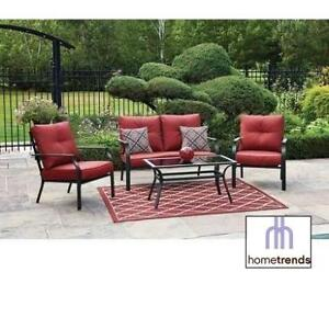 NEW* HOMETRENDS 4PC PATIO SET FCS70414ST 207436917 MONTCLAIR PATIO CONVERSATION RED