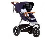 (New) Mountain Buggy - Urban Jungle White/Navy Stripes Carrycot/Stroller/Food Tray/Storm Covers