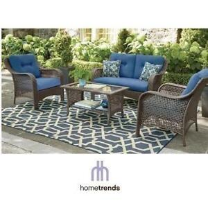 NEW* HOMETRENDS TUSCANY PATIO SET LG-H8209-4PC BL 213727141 CONVERSATION SET BLUE CUSHIONS PATIO FURNITURE