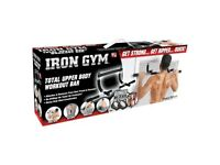 IRON GYM DOOR GYM TOTAL UPPER BODY WORKOUT BAR PULL UPS SITS UPS PUSH UPS DIPS AB STRAPS