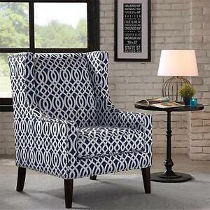 NEW* MADISON PARK ACCENT CHAIR BARTON CHAIR - NAVY PATTERN 105243053