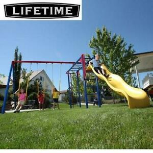 NEW LIFETIME MONKEY BAR SWING SET 90177 239372879 OUTDOOR PLAYGROUND YELLOW SLIDE