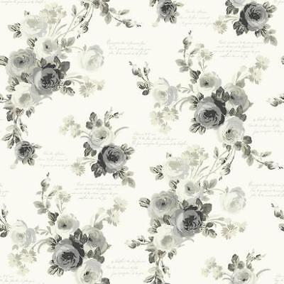 Heirloom Wallpaper (Black and White Heirloom County Rose Toile Wallpaper )