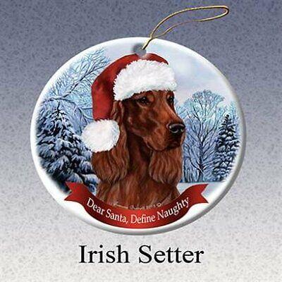 Holiday Pet Gifts Irish Setter Santa Hat Dog Porcelain Christmas Tree Ornament Irish Santa Hat