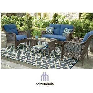 NEW HOMETRENDS TUSCANY PATIO SET LG-H8209-4PC BL 200041944 CONVERSATION SET WITH BLUE CUSHIONS