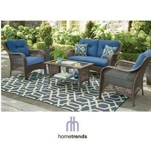 NEW* HOMETRENDS TUSCANY PATIO SET LG-H8209-4PC BL 188302520 CONVERSATION SET WITH BLUE CUSHIONS