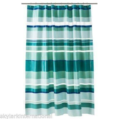 Aqua Stripe Shower Curtain Ebay
