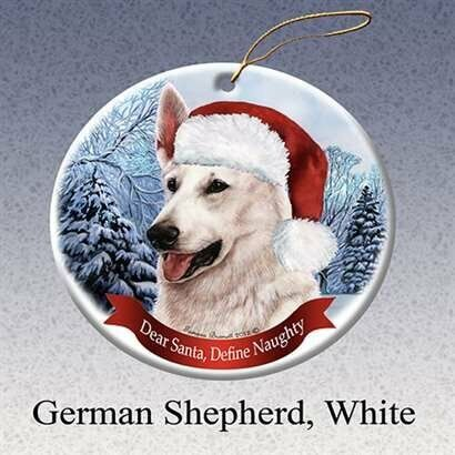 German Shepherd (White) Dog Santa Hat Christmas Ornament Porcelain USA-made