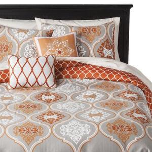 Target gray orange ogee duvet set full queen 3 pc grays - Orange and grey comforter ...