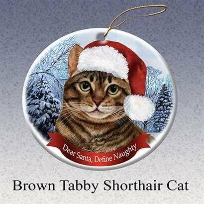 Holiday Pet Brown Tabby Shorthair Cat Santa Porcelain Christmas Tree Ornament